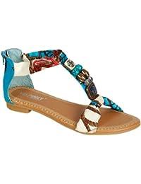GIGI 92 Gladiator Tribal Decorated Flat Sandals Blue