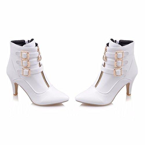 del White tamaño botas invierno Sra cinturón La botas hebilla aclaró xzU0Fq1