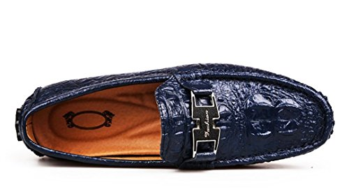 Tda Mens Moda Classica Slip On Stitching Pelle Guida Affari Penny Mocassini Scarpe Blu