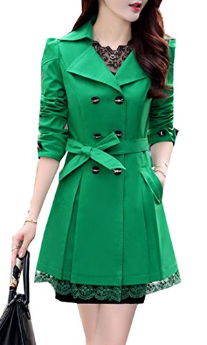 Oberora Women's Casual Double Breasted Lace Trim Pea Trench Coat Overcoat With Belt Green US L Coat Lace Trim