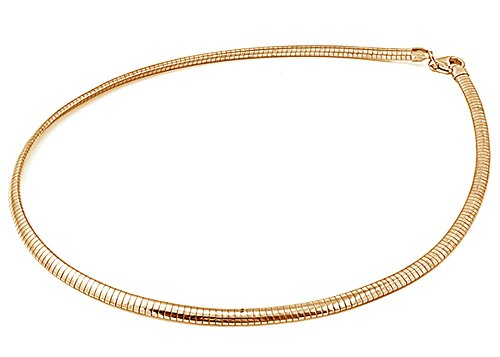 Chain Omega Wide 4mm - Sterling Silver Gold-Tone Reversible Omega Snake Chain 4mm Solid 925 Italy New Necklace 18