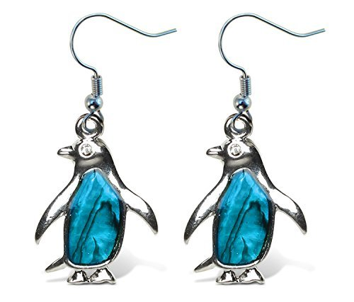 Puzzled Blue & Silver Penguin Fish Hook Earrings, 3 Inch Fashionable Sparkling Elegant Jewelry with Genuine New Zealand Paua Shell Marine Life Antarctic Animals Themed Fashion Ear Accessory (2 Pcs)