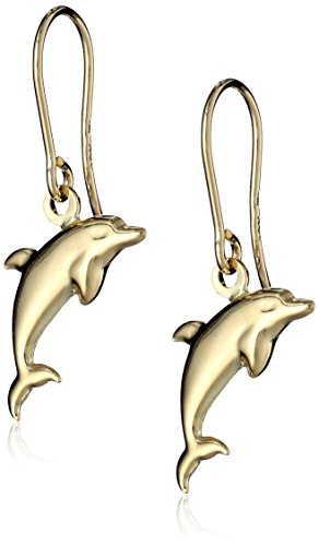 - 14k Yellow Gold Dolphin Drop Earrings