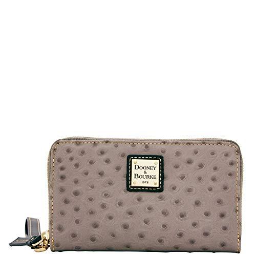 - Dooney & Bourke Ostrich Emb Leather Wrsitlet Phone Clutch Wallet