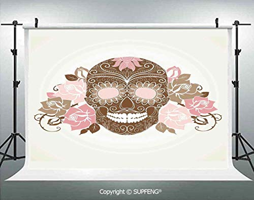 Photography Backdrops Skull and Roses Dead Man in Colors Vintage Style Spooky Graphic Art Print 3D Backdrops for Photography Backdrop Photo Background Studio Prop -