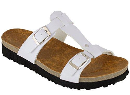 Cambridge Select Womens Double Buckle Slip On Slide Sandal White 2OqBfGC