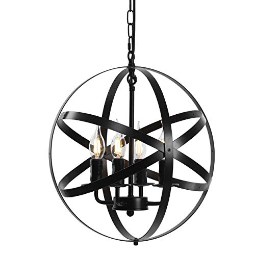 Lika 4-Light Chandelier 15.7″ Farmhouse Rustic Industrial Pendant Lighting with Metal Spherical Shade Black Chandeliers for Dining Room, Kitchen, Foyer