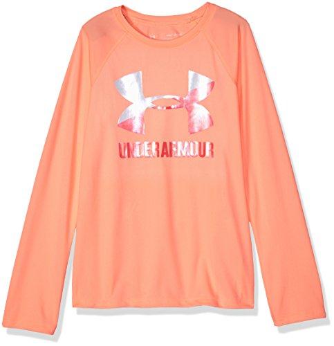 Under Armour Girls Big Logo Long Sleeve Shirt, Peach Horizon (906)/After Burn, Youth Medium (Peach Shirt For Boys)