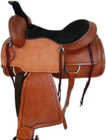 41uSaG7xlSL. AC  - Comfy Trail Saddle Pleasure Horse TACK Hand Tooled Leather Roping Roper 15 16 17
