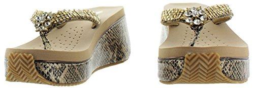 Volatile satinado Mujer Rhinestone Croc EVA cuña sandalias aspecto de piel de serpiente bronce claro