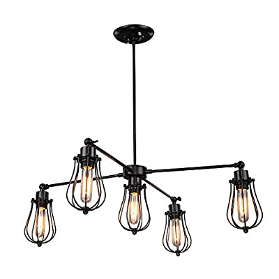 LNC Cage Chandeliers 5-Light Pendant Lighting for Kitchen Island