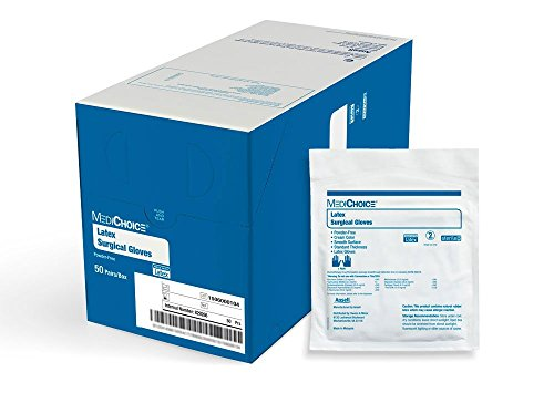 MediChoice Surgical Glove, Powder Free, Sterile, Latex, 6.0, Cream, 1314SGL65060 (Box of 50) by MediChoice