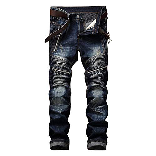 AITITIA Men's Biker Zipper Deco Washed Straight Fit Jean (38W x 32L, Dark Blue) ()