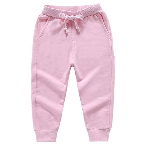Astellarie Toddler Baby Boy Girl Active Elastic Waist Sport Cotton Jogger Sweatpants with Drawstring in Basic Color 18M-8T (Pink,4T)