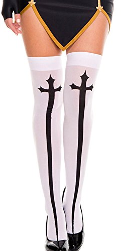 [Anmengte Halloween Masquerade Party Cosplay Costume Stocking Treat or Trick (1 pair, white)] (Masquarde Masks)