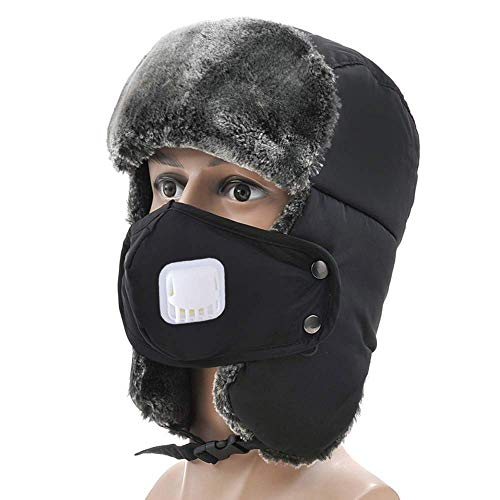 (Kids Trapper Hat Winter Thermal Waterproof Thick Skiing Snowboard Cycling Trooper Ear Flap Cap with Removable Breathable Mouth Mask for Boy Girl )