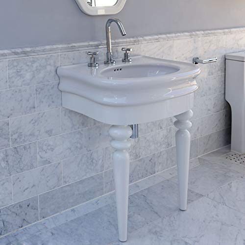Floor-standing console with turn legs stand for Bathroom Sink H251. To be attached to the back wall. W: 24 1/2