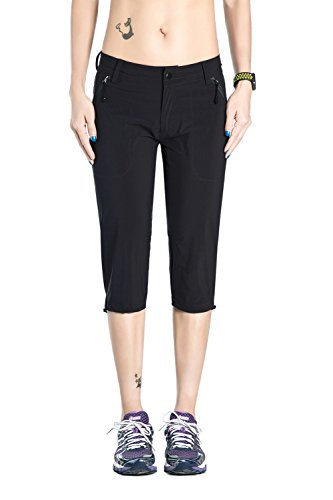 Nonwe Women's Quick Dry Outdoor Hiking Capri Shorts 5002 Black L