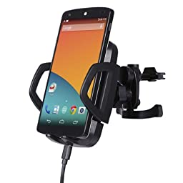 Forrader Power Qi C3A Air Vent Mount Wireless Car Charger for Nexus 5, Nexus 7(2013) , Nexus 4, Lumia 920, Samsung, iPhone, Nokia, Google, LG, HTC and Other Qi-Enabled Phones and Tablets, Black
