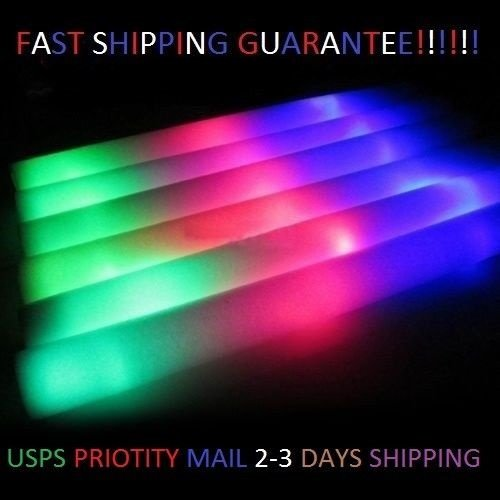 (100 Pack - Multicolor LED Foam Sticks Glow Batons - 3 Modes - 18