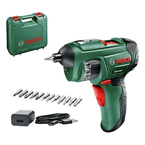 chollos oferta descuentos barato Bosch Home and Garden 0603977005 Bosch Atornillador sin Cable PSR Select 1 5 Ah Sistema de 3 6 voltios con Micro USB en maletín 3 6 V Verde