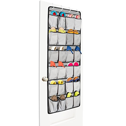 Unjumbly Over The Door Shoe Organizer From, 24 Large Pocket Shoe Storage  And Closet Organizer With 4 Unique Customized Strong Metal Hooks (Gray With  Black ...