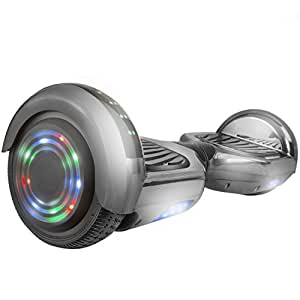 """WorryFree Gadgets Hoverboard UL2272 Certified 6.5"""" Flash Wheel Bluetooth Speaker with LED Light Self Balancing Wheel Electric Scooter (Chrome Black)"""
