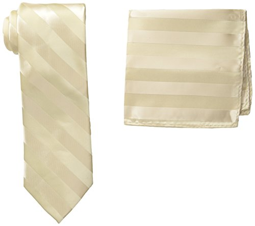 - Stacy Adams Men's Solid Woven Formal Stripe Tie Set, Ivory, One Size