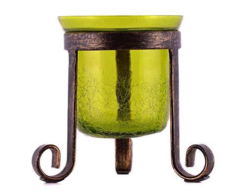 MystiqueDecors Green Hurricane Candle Holder Tealight Votive Evening Decoration -