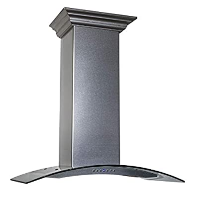 ZLINE 36 in. 760 CFM Wall Mount Range Hood in Snow Finished Stainless Steel & Glass (8KN4S-36)