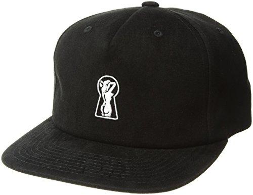 Medium Cap Hat - Brixton Men's peeper Medium Profile Adjustable Hat, Black, O/S
