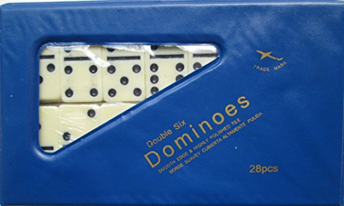 DOUBLE 6 Dominoes Mini Ivory color tiles with black dots in vinyl case