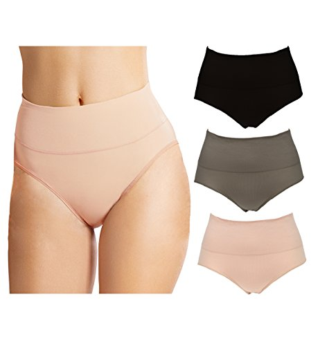 Emprella Control Top Underwear High Waist Wavy Solid Color Tummy Control Cotton Panty Briefs- 3 Pack (Large/X-Large, Black/Tan/Taupe)