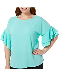 Plus Solid Double Ruffle Sleeve Top