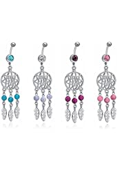 Stainless Steel Dangle Bead Feather Fancy Navel Belly Button Ring, 4 Colors for Choice