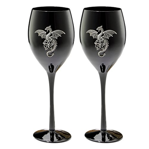 Design Toscano Wyvern Dragon Gothic Glass Goblet: Set of Two ()