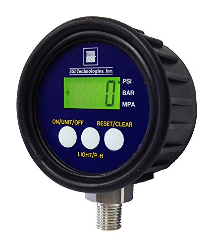 SSI MG1-9V Series Media Gauge Digital Pressure Gauge Sensor with LCD Display, 3000psig Operating Pressure, 9V, +/- 1% Accuracy, 1/4-18