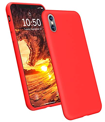 YOHUTO Ultra Slim Fit Silicone iPhone X Case/iPhone Xs Case, Soft Liquid Silicone Gel Rubber with Full Body Cover Shockproof Anti-Scratch Protective Case, Compatible with iPhone X/Xs 5.8 (Red)