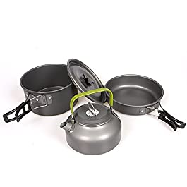 Oceanheart Portable Camping Cookware Set Camping Pots Aluminum Cooking Pan for Picnic, Outdoor Camping, Hiking…