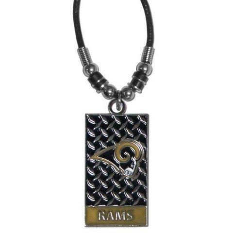 NFL St. Louis Rams Diamond Plate Rope Necklace, 20-Inch (Louis Rams Logo Pendant)