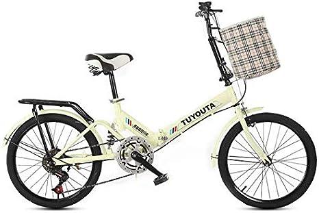 TX Bicicleta Plegable De Velocidad Variable De 20 Pulgadas Rueda De Radios De Suspensión Trasera Portátil Unisex-Adulto Urbana De Tamaño Mini Portátil,Amarillo: Amazon.es: Deportes y aire libre