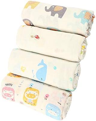 Fulllove - Manta para bebé (4 unidades, 120 x 120 cm, algodón, con ...