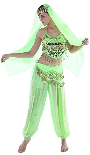 Adult Genie Costumes Women Belly Dance Halloween Costume Ladies Apple Green -