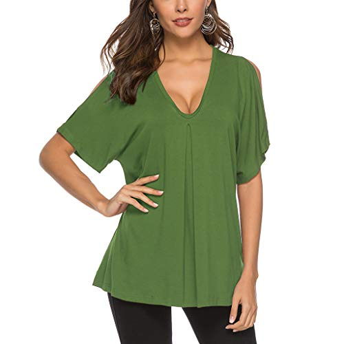 (DaySeventh Summer Deals 2019 ! Womens Short Sleeve Solid T-Shirt Casual Flare Tunic Loose Top Blouse)