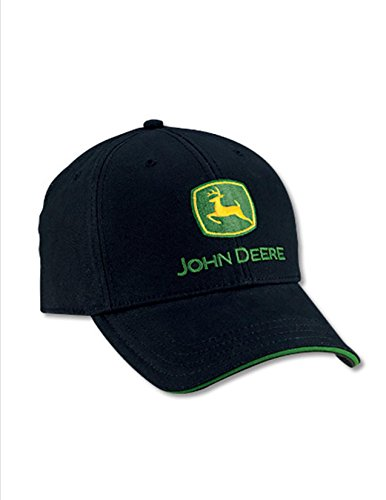 John Deere Black FITTED Structured Brushed Twill Cap Green Sandwich Visor Brushed Twill Sandwich