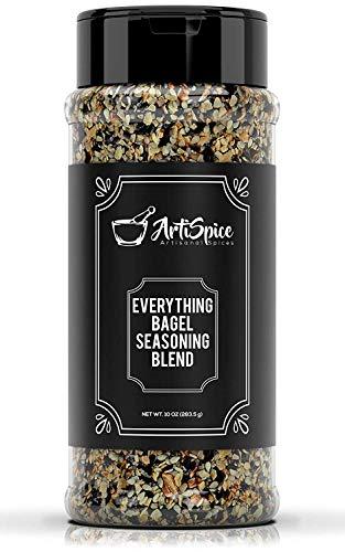 Everything Bagel Seasoning Blend, 10oz - White And Black Sesame Seasoning, Garlic Powder Blend and Sea Salt For Bagels - Natural All Purpose Seasoning Spice Shaker by ArtiSpice (1)