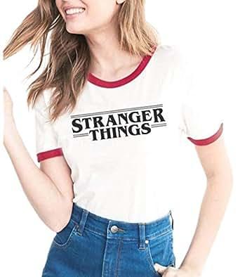 pujingge Womens Crew Neck Short Sleeve Stranger Things Print T-Shirt 1 L