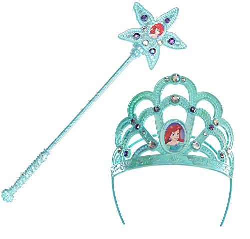 Suit Yourself The Little Mermaid Ariel Costume Accessory Kit, Includes a Light Blue Crown Headband and a Matching Wand ()