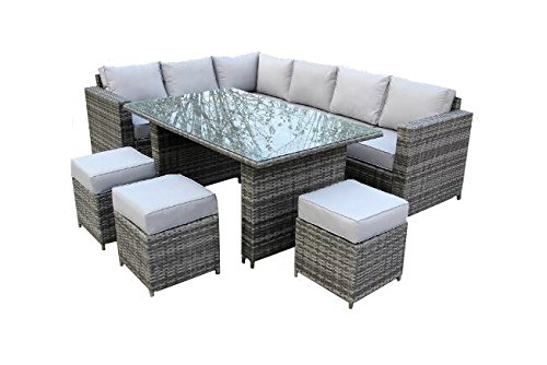 YAKOE Conservatory 9 Seater Outdoor Rattan Garden Furniture Classical...