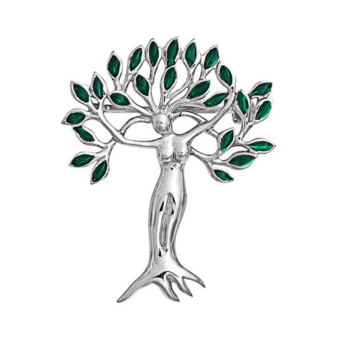 - Green Leaves Tree Of Life Goddess Protection Of Nature Mother Earth Brooch Pin For Women 925 Sterling Silver